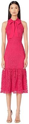 ML Monique Lhuillier Raspberry Lace Halter Dress with Ribbon (Raspberry Multi) Women's Dress