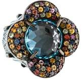 MCL by Matthew Campbell Laurenza Blue Topaz & Multicolored Sapphire Floral Ring