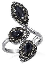 Expression Sterling Silver Marcasite and Rhodium-Plated Sterling Silver Bypass Ring
