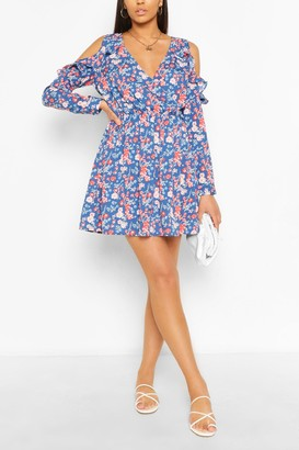 boohoo Floral Ruffle Cold Shoulder Skater Dress