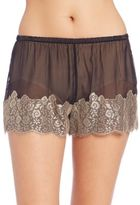 Josie Natori Sheer Lace-Trim Sleep Shorts