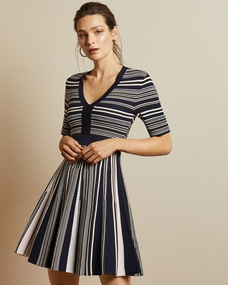 Ted Baker Striped V Neck Skater Dress
