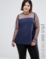 Junarose Plus Top With Sheer Sleeves