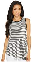 Vince Camuto Specialty Size Petite Sleeveless Asymmetrical Hem Simple Stripe Top