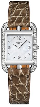Hermes Cape Cod 23MM Diamond, Stainless Steel & Alligator Strap Watch