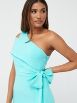 Very One Shoulder Structured Bodycon Dress - Blue