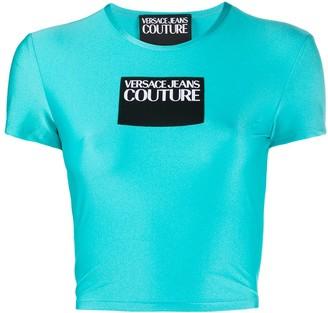 Versace logo patch cropped T-shirt