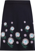 Markus Lupfer Ditsy Daisy floral-embroidered jersey skirt