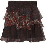 IRO Loey Tiered Printed Crepon Mini Skirt - Black