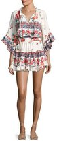MISA Los Angeles Ximena Ruffled Floral-Print Mini Dress