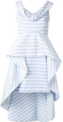 Leal Daccarett Anetta striped structured peplum dress