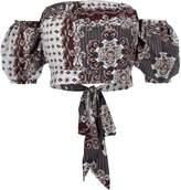 River Island Womens Cream scarf print bardot puff sleeve crop top