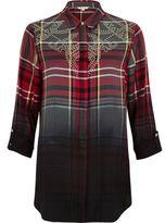 River Island Womens Red dip dye check western shirt