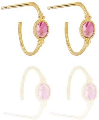 Perle de Lune Pink Tourmaline Creole Earrings