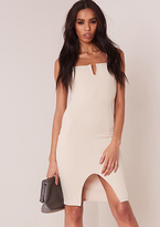 Missy Empire Lola Cream Textured Bodycon Mini Dress