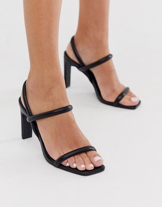 Barely There Co Wren square toe heels in black