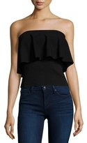 Milly Strapless Flounce Top, Black