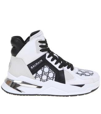 Balmain B-ball Sneakers In White / Black Leather