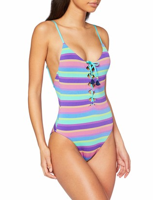 Seafolly Women's V Neck One Piece Swimsuit with Lace Up Front