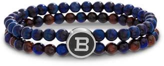Ben Sherman Men's Tiger's Eye Bead Bracelet, Blue/Brown