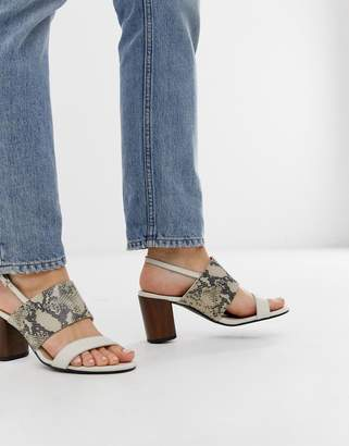 Vagabond carol white leather snake effect heeled sandals