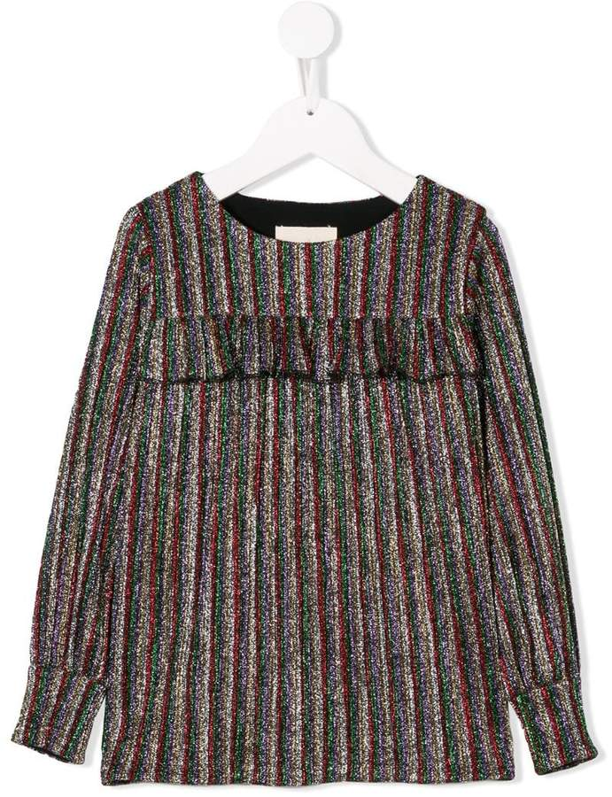 Douuod Kids glitter striped top
