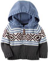 Carter's Baby Boy Fairisle Knit Hooded Cardigan