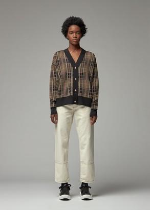 Marni Women's Checked V Neck Cardigan Sweater Size 36 100% Virgin Wool