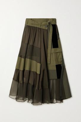 Sacai Paneled Asymmetric Satin, Velvet, Twill And Chiffon Wrap Maxi Skirt - Dark green