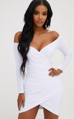 Bardot Ah Shape White Ruched Bodycon Dress