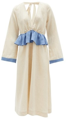 Casa Raki - Eva Contrast-ruffle Organic-linen Midi Dress - Beige Multi