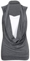 GirlsWalk Girls Walk Women's Plus Size Ruched Cowl Neck Vest 2 In 1 Tunic Sleeveless Jersey Tank Top