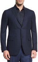 Ermenegildo Zegna Milano Easy Fit Cool Effect Check Textured Sport Coat, Navy
