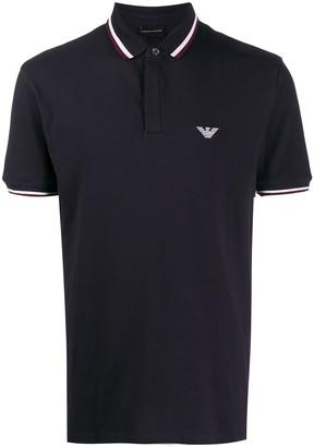 Emporio Armani stripe trim polo shirt