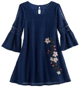 My Michelle Girls 7-16 Floral Embroidered Cold Shoulder Dress