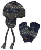 Muk Luks Men's Nordic-Style Trapper Hat With Flip Mittens Set - Navy and Grey