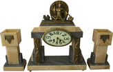 One Kings Lane Vintage French Deco Clock Garniture Set, 3 Pcs