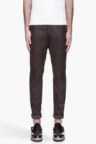 Balmain Deep chocolate brown Leather Sweat Pants