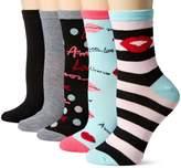 Betsey Johnson Women's Lips Patterned Crew Socks 5 Pack