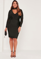 Missguided Plus Size Mesh Panel High Neck Bandage Dress Black