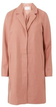 Dorothy Perkins Womens Vila Pink Long Sleeve Wool Look Coat, Pink