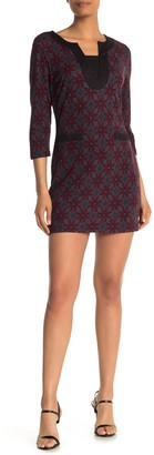 Papillon Daisy Print 3/4 Sleeve Brushed Knit Mini Dress