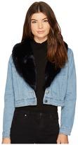 BB Dakota Mia Faux Fur Trim Denim Jacket Women's Coat
