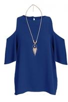 Quiz Royal Blue Crepe Cold Shoulder Necklace Top