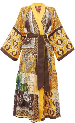 F.R.S For Restless Sleepers Iuventas Belted Patchwork Silk Coat - Yellow Multi