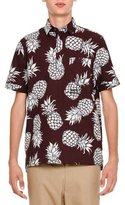 Valentino Pineapple-Print Short-Sleeve Popover Shirt, Burgundy