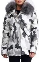 Gorski Hooded Camouflage-Print Puffer Après-Ski Jacket with Fox Fur Trim