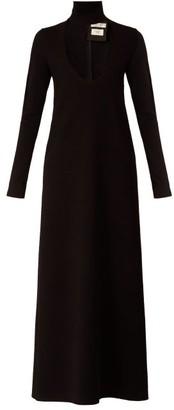 Bottega Veneta High-neck Wool-blend Maxi Dress - Black
