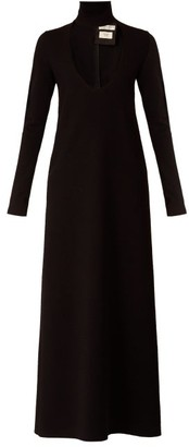 Bottega Veneta High-neck Wool-blend Maxi Dress - Womens - Black