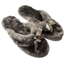 Sheepers - Grey Flip Flop Sheepskin Slippers - UK5 - Grey